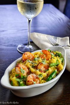 Shrimp asparagus risotto: A homemade treat with saffron infused risotto, pan seared brown butter shrimp, and fresh asparagus. Fish Recipes, Seafood Recipes, Cooking Recipes, Healthy Recipes, Rice Dishes, Pasta Dishes, Risotto Dishes, Seafood Dishes, Fish And Seafood