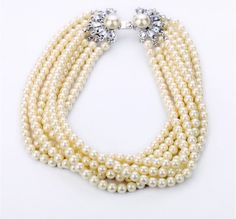 Luxury pearl Statement Necklace, Bubble Crystal Necklace, JCrew Inspired Necklace, Beaded Bib necklace,Wedding Necklace