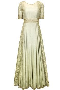 Mint green embroidered anarkali set available only at Pernia's Pop-up Shop. This is so pretty!!