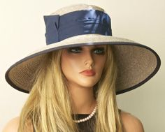 Kentucky Derby Hat Wide Brim Gray Taupe Hat. by AwardDesign