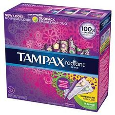 Tampax Radiant Plastic Duopack (Regular & Super) absorbencies unscented tampons - 32 Count
