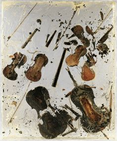 Arman - Anger, 1974 - Combustion of cello and violin, resin and plexiglas, cm 195 x 160 x 20 #anger