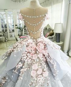 Closeup of #floral #ballgown