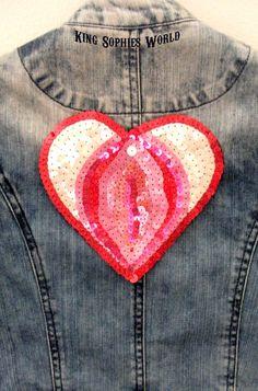 Vagina Heart Patch Riot Grrrl Style Sequin Applique Heart