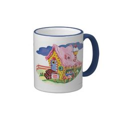 Candy Land Ginger Bread House Ringer Coffee Mug