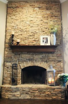 Beautiful flag-stone fireplace