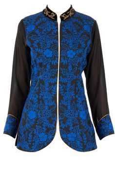Black jacket with blue embroidery available only at Pernia's Pop-Up Shop.