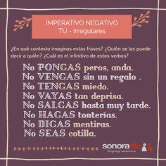 A2/B1 - Imperativo negativo. Tú - irregulares. Entrada en el blog de Sonora ELE.