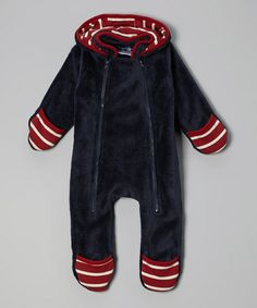 Navy & Red Fleece Hooded Bunting - Infant by Rugged Bear on #zulily #ad *I want this in adult size. So comfy.
