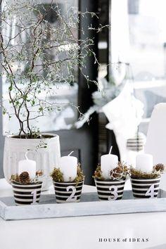 HOUSE of IDEAS Advent, Adventskranz, Xmas, Weihnachten black&white, Polish pottery http://myhouseofideas.blogspot.de/
