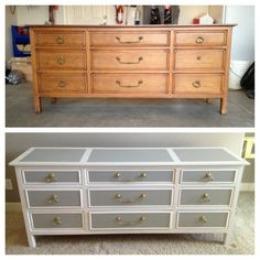 Nice piece of upcycling: old pine chest into stylish grey and white storage unit.