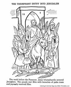 Easter Bible Coloring Pages Jesus Enters Jerusalem Page Sheet