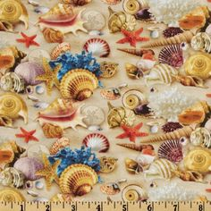 Children+Of+The+Sea+II+Shells+Sand from @fabricdotcom  From+Elizabeth's+Studio,+this+fabric+is+perfect+for+quilting,+craft+projects,+apparel+and+home+decor+accents.+Colors+include+orange,+yellow,+white,+pink,+blue,+purple+and+shades+of+tan+on+a+sand+background.