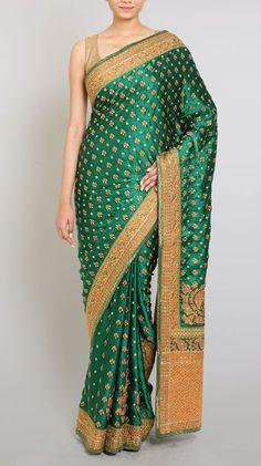 green ari embroidered satin sari