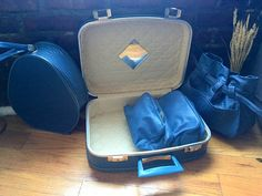 Vintage NEVER USED Suitcase Set by RyansBricaBrac on Etsy  #vintage #luggage #set #suitcase #1950's #1960's #1970's #hipster #grandma #chic #travel #style #fashion #rustic #blue #retro #decor #storage