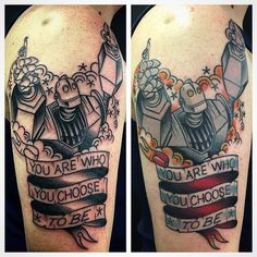 First session on the left and finished product on the right. Done by Dave Borjes at Bound For Glory Tattoo on Staten Island, New York.