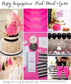 Gorgeous party inspiration, pink black and gold party ideas, kate spade theme party ideas for girls birthday or bridal shower