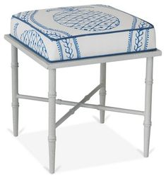 Doheny Stool, Blue/White Linen $715.00
