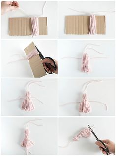 DIY Tassel Bookmarks - Pottery Barn - Bernice West - DIY Tassel Bookmarks – Pottery Barn DIY Tassel Bookmarks – Pottery Barn How to make a yarn tassel Always wanted to figure out how to knit, but undecided where to start? Diy Marque Page, Marque Page Origami, Creative Bookmarks, Diy Bookmarks, Bookmark Ideas, Bookmark Craft, Crochet Bookmarks, Easy Diy Crafts, Yarn Crafts