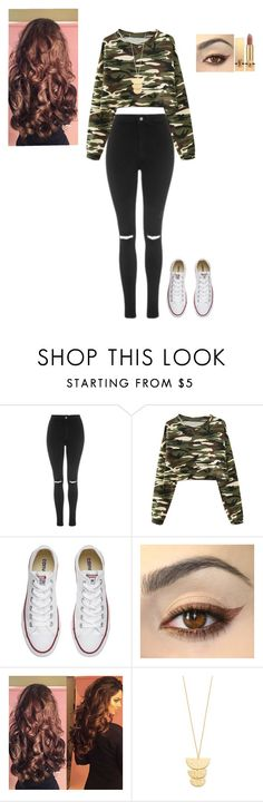 """""""Camo"""" by char02 on Polyvore featuring Topshop, Chicnova Fashion, Converse, Gorjana and Yves Saint Laurent"""