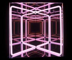 Paolo Scirpa Interactive Installation, Light Installation, Light Tunnel, Mirror Inspiration, Infinity Mirror, Spirited Art, Light Reflection, Exhibition Space, Neon Lighting