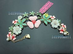 Betsey Johnson Crystal Enamel Grass Flowers Charm Multi Chain Bracelets.#BJ609F