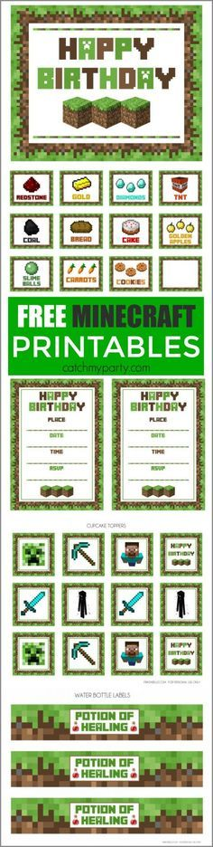 Free Minecraft Party Printables | http://CatchMyParty.com
