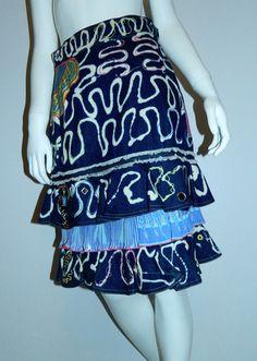 vintage Zandra Rhodes skirt 1980s bleached denim tiered hem appliqué  – Retro Trend Vintage