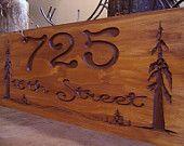 Carved Rustic Address Signs Pine Tree Redwood Forest Primitive wood carved Sign Evergreen Trees Cabin Cottage Sign #22