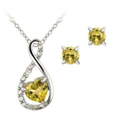 Sterling Silver Citrine & Diamond Accent Swirl Heart Necklace and Earrings Set SilverSpeck.com. $22.99. Save 62%!