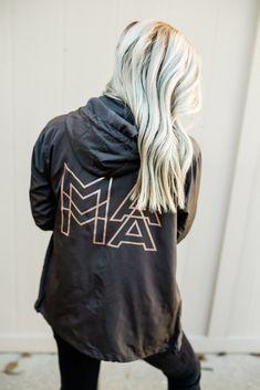 82efe5aa4 MAMA Modern Graphite Grey + Metallic Rose Gold Ink Windbreaker Jacket.  Declan + Crew