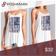 """Floral American Flag Tank This is a Brand New White Tank with a floral print American Flag on the front. A must have for the 4th of July it's a longer style that can be worn as a tank or bathing suit cover up. Materials are 95% poly and 5% spandex.Made in the USA⚜Please see my """"reasonable offers"""" listing at the top of my page before submitting an offer⚜ Thank you Boutique Tops Tank Tops"""