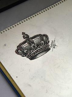 crown tattoo sketch - Thiago Padovani Tattoo Sketches, Art Sketches, Tattoo Ideas, Tattoo Designs, Crowns, Tatting, Piercings, Drawings, Inspiration