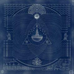 "Daniel Martin Diaz ""Blue Print for the Future"" series Anima Mundi, Esoteric Art, Occult Art, Alien Art, Mystique, Sacred Art, Cartography, Sacred Geometry, Astronomy"