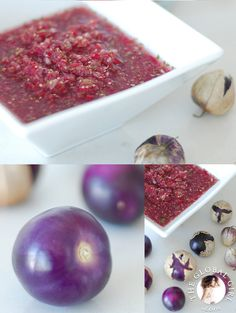 The Global Girl Raw Food Recipes: Purple tomatillo salsa. 100% vegan, dairy free, oil free and gluten free.