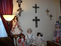 Some of my Crosses and Dolls  I love collection many things they make me happy (smile)
