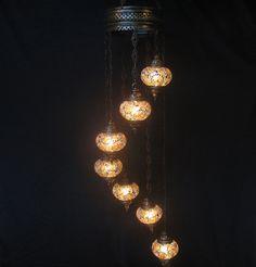 7 ball gray mosaic glass chandelier / mosaïque lustre / mosaik lampe / h 177 #Handmade #Moroccan