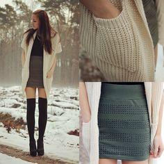 knit cardi, top, high-waist studded skirt, thigh-high socks