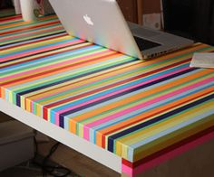 DIY Idea: IKEA Table Gets Colorful Stripes - No Paint Needed! — Enjoy It | Home Decor News