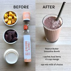 Makes 5 delicious nutty smoothies! Our energy booster combines a strengthening blend of peanut butter, apricots, maca, nuts and seeds. Smoothie Recipes, Smoothies, Fussy Eaters, Acai Berry, Natural Energy, Peanut Butter, Berries, Mango, Desserts