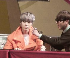 himchan trying to pinch zelo's cheeks<3 GIF