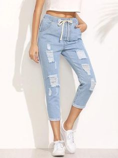 To find out about the Distressed Drawstring Waist Cropped Jeans at SHEIN, part of our latest Jeans ready to shop online today! Ripped Jeans Outfit, Blue Ripped Jeans, Cropped Jeans, Denim Pants, Blue Pants, Jeans Dress, Denim Fashion, Fashion Pants, Fashion Black