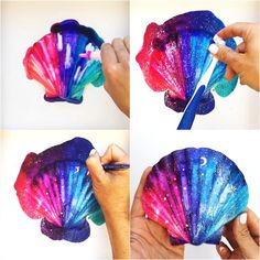 Alcohol inks are the perfect art supply for making galaxy painted shells. Learn how to make these beautiful decorative shells with this step-by-step guide on using alcohol inks. Seashell Painting, Seashell Art, Seashell Crafts, Beach Crafts, Summer Crafts For Kids, Craft Projects For Kids, Kid Crafts, Art Projects, Alcohol Ink Painting