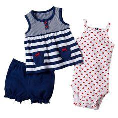 Carters Baby Girl 3 Piece Striped Tank Top, Bodysuit « Clothing Impulse