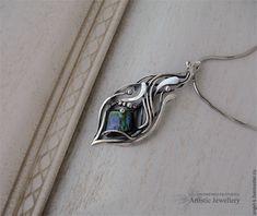 """Купить кулон """"MIRACLE"""" (серебро, аммолит) - серебряный кулон, авторский кулон, кулон с камнем"""