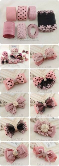 Diy baby bows headbands no sew 65 ideas Diy Ribbon, Ribbon Crafts, Ribbon Bows, Hair Ribbons, Diy Headband, Baby Headbands, Diy Hair Bows, Lace Bows, Diy Hair Accessories