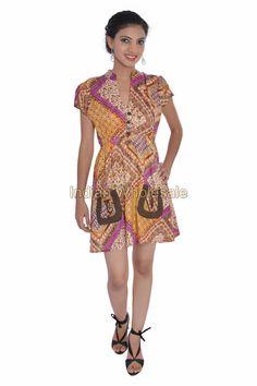 Women Rayon Printed One Piece Girl's Dress Evening Summer Tunic Top IW15008ORG #Handmade #Maxi #Casual