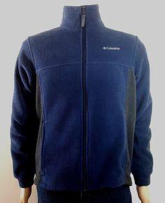 Columbia men's full zip fleece outerwear jacket blue small 18 20 #Columbia #FleeceJacket