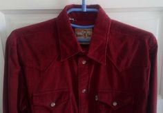 Levis Vintage Clothing Western Burgundy Corduroy Shirt Size US S / EU 44-46 / 1