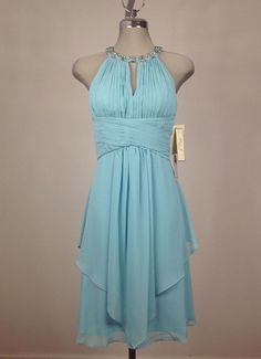 Eliza J NWT Modern /Sexy TURQUOISE  Dress W Pearls and Crystals embellishe neck #ElizaJ #Sheath #Cocktail